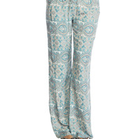 Green Paisley Wide Leg Pant | Wet Seal