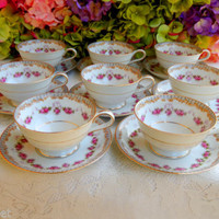 8 Beautiful Vintage Noritake Porcelain Cups & Saucers ~ Rose Swags ~ Scrolls