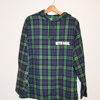 Vintage Plaid Flannel Shirt 80s Notre Dame Shirt Vintage Blue and Green Plaid Pullover Shirt Size XL