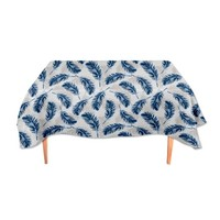 Uneekee Blue Feathers Rectangle Tablecloth: Small