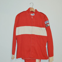 Vintage 80s Racequip Racing Jacket Race Car Jacket Mechanics Pit Crew Jacket Size Large Man Cave Wall Art