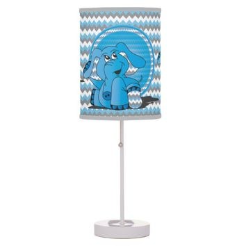 Funny Blue Chevron Elephant Kid's Lamp