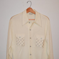 Vintage 50s Dress Shirt Buttons Up the Front Sheer Off White Material Men's Shirt Disco Shirt Size Large