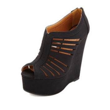 LASER-CUT SLIT PEEP TOE PLATFORM WEDGES