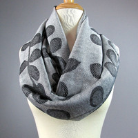 Grey scarf, gray infinity scarf, silver scarf, fashion accessories for her