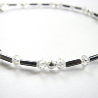 Beaded Ankle Bracelet - Presiosa Crystal and Vintage Venetian Glass Beads in Steel Grey, Dainty Black and White Anklet