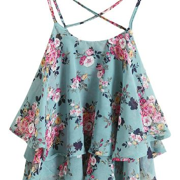 Lookbookstore Women Summer Fashion Ruffled Double Layers Floral Print Crop Top