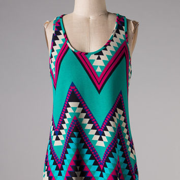 Magenta and Teal Aztec Tank Top