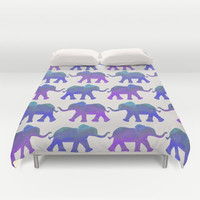 Follow The Leader - Painted Elephants in Royal Blue, Purple, & Mint Duvet Cover by Tangerine-Tane