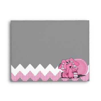Cute Funny Chevron Pink Elephant Envelope
