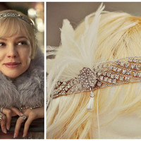THE GREAT GATSBY Headband Inspired ,Vintage Style, 1920's 1930's, Flapper Headpiece, Roaring 20's, the great gatsby bridal feather headpiece