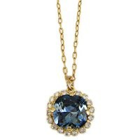 "Catherine Popesco Necklace - 14k Gold Plated Round Crystal Rhinestone Border Pendant 18"" Necklace, Midnight Blue 4537GN"