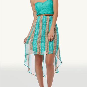 Belted Tribal High Low Tube Dress