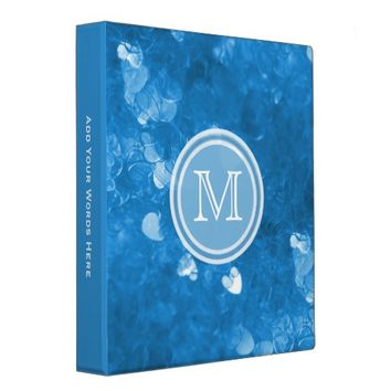 Monogram: Blue Heart Confetti Binder