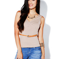 Papaya Clothing Online :: BELTED V-NECT TOP