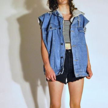 GRUNGE light wash denim higher state hooded vest