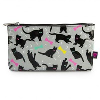 """Cats and Bows"" Cosmetic Bag by Loungefly (Grey/Multi)"