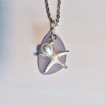 Sea Glass Necklace Light Lavendar Jewelry Starfish Necklace Bridesmaid Necklace Wedding Jewelry Friendship Gift Beach Jewelry Gift Ideas