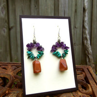 Turquoise Amethyst Carnelian Agate Earrings - Warm Summer Tones