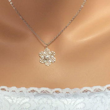 Bridesmaid Necklace Bridesmaid Jewelry Filigree Flower Pearl Necklace Wedding Bridal Party Jewelry - YOU CHOOSE QUANTITY -