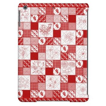 Red Work Floral Quilt iPad Air Case