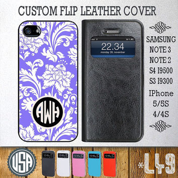Custom Vintage Monogram Leather Flip Cover @ Samsung Galaxy S4 case Samsung S3 cover , Samsung Note 3 Note 2 , IPhone 5 5S , IPhone 4 4S L49