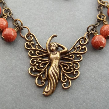 Art Deco Fairy Necklace Antiqued Brass Necklace Your Necklace Goldstone Bead Necklace Friendship Gift