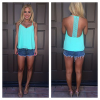 Star-Crossed Lovers Crochet T-Back Tank - MINT