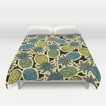Pineapple Pandemonium - Retro Tones Duvet Cover by Lisa Argyropoulos | Society6