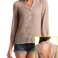 Charlotte Russe - Lace Inset Open Back Blouse