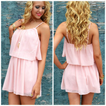 Willow Lake Blush Chiffon Tank Dress