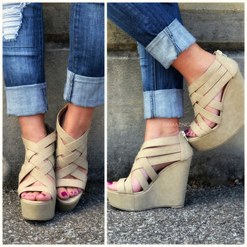Crossroads Natural Strappy Wedges