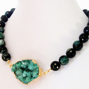 CIJ ChristmasInJuly Sale Green Druzy  Dipped In Gold  Pendant Beaded Gemstone Necklace, Double Bail Druzy Pendant, Black Green Faceted Round