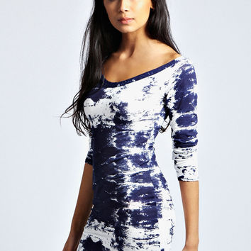 Nina Smudge Print Bodycon Dress