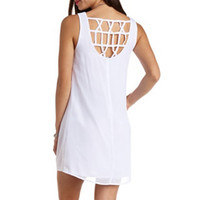 STRAPPY BACK CHIFFON SHIFT DRESS
