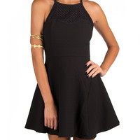 NETTED COLLAR DOUBLE STRAP SKATER DRESS