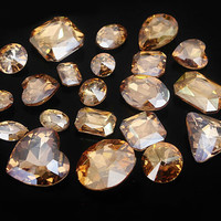 15pcs Mized Size champagne Gemstones Twinkle Gemstone Wholesale Gemstone Beads