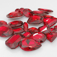 Hot Red Crystal Gemstones Beads 15pcs Fashion Jewelry DIY Beads