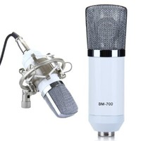 EXCELVAN® Condenser Microphone Recording Mic with Shock Mount BM-700 Ideal for Radio Broadcasting Studio, Voice-over Sound Studio and Recording-White