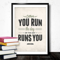 Motivation Run The Day Wall Art - Vintage Style Typography Inspirational quote poster