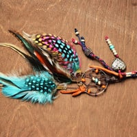 Gypsy Dreamcatcher Feather Purse Charm by turquoisecrush on Etsy