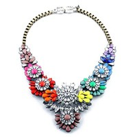 Zlyc Women's Glamourous Summer Colorful Flower Resin Rhinestone Statement Necklace Choker