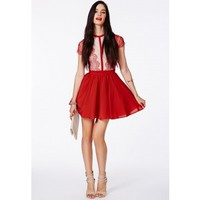 Missguided - Arjean Red Eyelash Lace Puff Ball Dress
