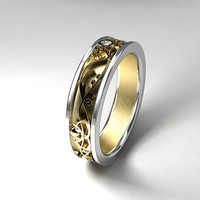 Wide filigree wedding band with diamond, Yellow gold ring, two tone, men's filigree ring, men diamond ring, unique, men wide ring, modern