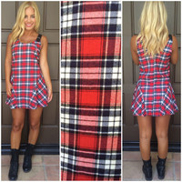 Don't Speak Plaid Flannel Dress - RED & BLACK