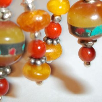 'Tibetan Treasure' Artisan Earrings with Tibetan Amber on Sterling Silver