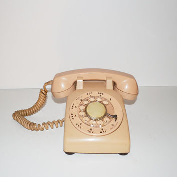 Vintage Telephone Beige Rotary Telephone Vintage Phone Beige Phone Photo Prop Movie Prop