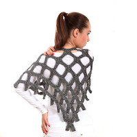 Hand Knit Shawl, Knitted Stole, The Silver Net by Solandia, Silver Geometric Modern Scarf, triangular shawl novelty, summer, grey
