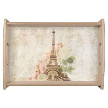 Paris Vintage Pink Roses Serving Tray