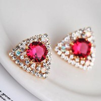 Ruby Heart Triangle Rhinestone Earrings